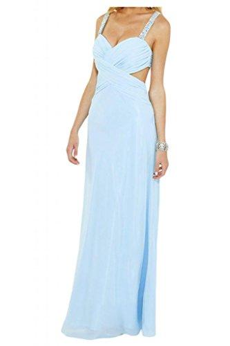 Toscana sposa sera moda Rueckenfrei Chiffon sera vestiti lungo festa party Ball Prom abiti Blau