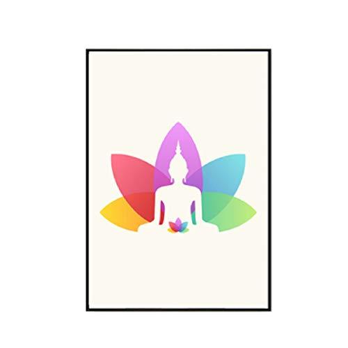XWArtpic Buddha Wandkunst Moderne Yoga Leinwand Gemälde Poster und Drucke Indische Kunst Bilder auf Leinwand für Wohnzimmer Wohnkultur A 60 * 100 cm