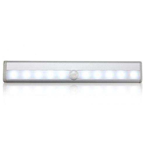 amzdeal 10 LEDs Schranklampe automatische Innen-Sensorleuchte mit Bewegungsmelder Weiß Licht Sensor Lampe für Schrank, Unter-Kabinett, Wandschrank