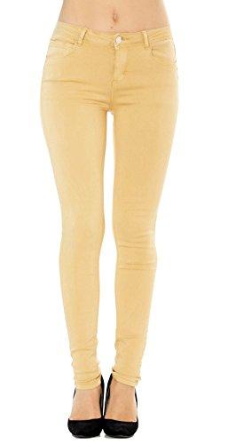 Jean femme skinny jaune pantalon slim stretch taille 36