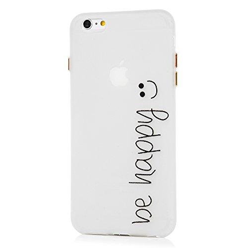 Badalink Coque iPhone 6 Plus / iPhone 6S Plus, Case Housse Étui Bumper Coque de Protection Lumineuse TPU Silicone Gel Transparent Souple Flexible Ultra Mince Slim Léger Anti Rayure Antichoc Housse iPh Smile