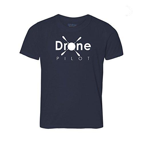 MovoBright, T-shirt avec inscription «Drone Pilot» pour dépliants de drones Quadcopters et Uavs. Grand cadeau de sécurité pour les amateurs de Drone, etc., bleu marine, Medium (38-40)