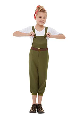 Land Kostüm Girl Kinder - Smiffys 50741M WW2 Little Land Girl Kostüm, Grün, M - Alter 7-9 Jahre