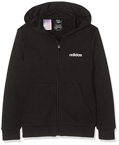 adidas Yb E Lin Fz HD Sweat-Shirt Garçon, Black/White, FR : 3XL (Taille Fabricant : 1516Y)
