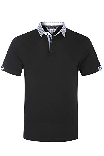 MAROJO Herren Poloshirt mit Kent Kragen Regular Fit Kurzarm Sommer Shirts Polo Hemd (Schwarz, XL) - Herren Pique Polo Solid