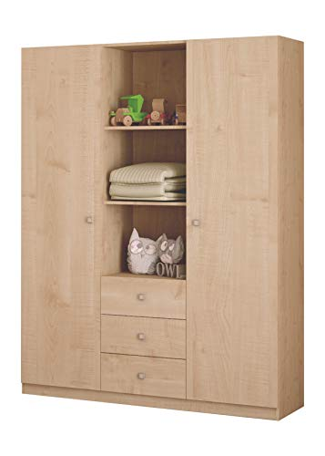 Polini Kids Kinder Kleiderschrank Simple 3-türig Natur