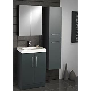 Lomond Vanity Unit including Tall Boy Gloss Black & Bathroom Mirror Cabinet