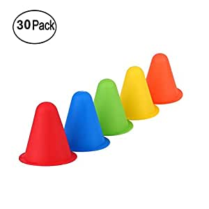 AMEITECH Plastic Traffic Cones - 30 Pack of 8 cm Sports Cones for Physical Education/Sports Training and Race/Car/ Construction Themed Birthday Party