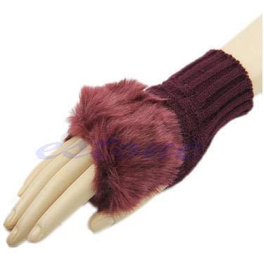 JOYKK Winter Arm Warmer Fingerlose Handschuhe Strickhandschuhe Mitten - Weinrot