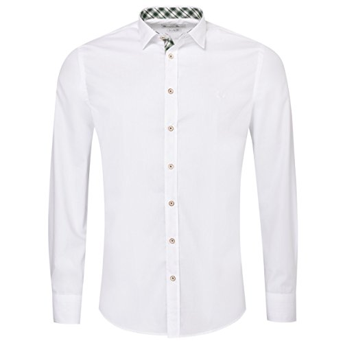Gweih & Silk Trachtenhemd Body Fit edi Zweifarbig in Weiß und Grün von, Größe:L, Farbe:Weiß