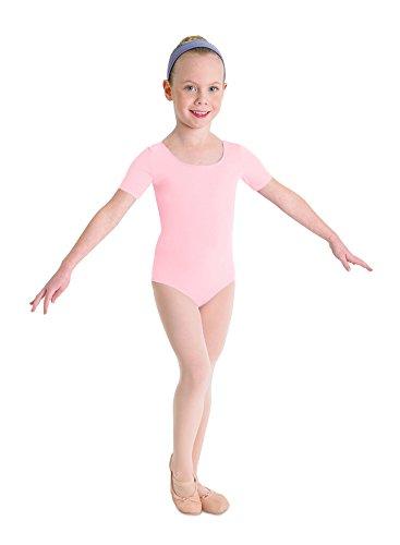 Kinder Ballett Body mit kurzem Arm und rundem Halsausschnitt rosa Gr. 4-6
