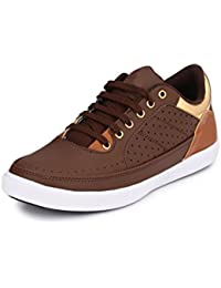 Fentacia Men Brown Golden Collar Sneakers