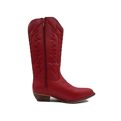 Kick Footwear - Botas de Piel sintética para Mujer, Color Rojo, Talla 35.5