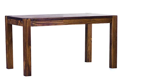 Brasilmöbel Esstisch Rio Kanto 100x73 cm Eiche antik Pinie Massivholz Größe und Farbe wählbar Esszimmertisch Küchentisch Holztisch Echtholz vorgerichtet für Ansteckplatten Tisch ausziehbar