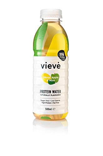 Vieve Protein Wasser 500ml - Zitrus, Apfel & Minze   Die Alternative zum Eiweiß Pulver Shake   Zuckerfrei, Fettfrei & Laktosefrei   6er Packung