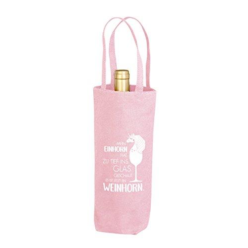 Flaschenbeutel mit Spruch 100% Bio-Baumwolle Flaschen bis zu 1,5 l/Wein Geschenk Mein Einhorn hat zu tief ins Glas geschaut, jetzt ist es ein Weinhorn (pink) ()