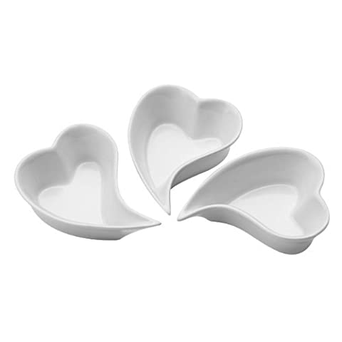 Modella Heart Shape Set Of 3 Serving Dishes Made Of White Porcelain Material by rubiesofuk
