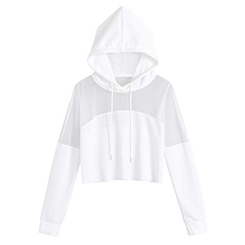 Xmiral Damen Kapuzenpullover Polyester Boho SPure Farbe Bluse Splice Shirt Langarm Kurzes Oberteil (M,Weiß)