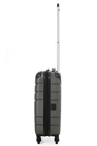Aerolite SMART Koffer mit USB Port zum Laden, ABS Hartschale 4 Rollen Bordgepäck Handgepäck Trolley Koffer Gepäck , Genehmigt für Lufthansa, Easyjet, Ryanair und Viele Andere (Kohlegrau) - 3