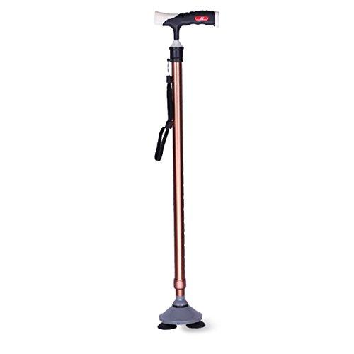 Nshk anziani stampelle bastoni da passeggio a tre punte antiscivolo canna telescopica con base a ventosa per viaggi su terreni diversi,brown