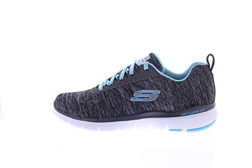 Skechers Damen Flex Appeal 3.0-insiders Sneaker , Schwarz (Black/LightBlue) , 40 EU