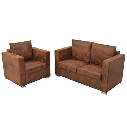Vidaxl divano a 2 posti 137x73x82cm in pelle scamosciata artificiale sofà sala