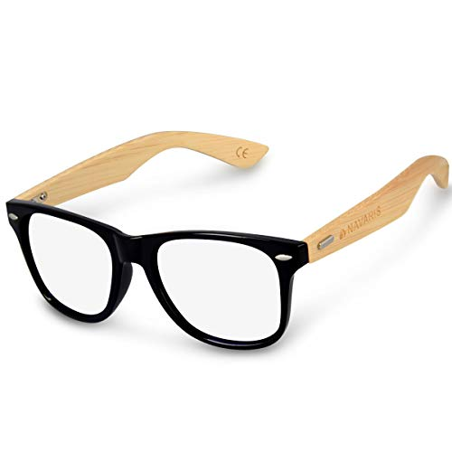 Navaris Occhiali non graduati retro donna uomo - Occhiali finti da vista unisex protezione luce blu PC - Occhiale con astine bambù - diversi colori