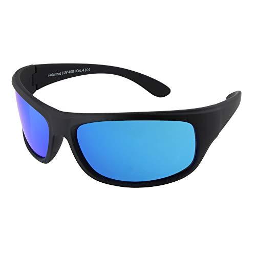 EREBOS Sonnenbrille polarisiert | Cat. 4 besonders dunkel | UV 400 Schutz | Für Extreme Sonne - Berge und Meer | Photophobie | Herren Damen Sport-Sonnenbrille | 24 g (Blau verspiegelt | Braune Tönung