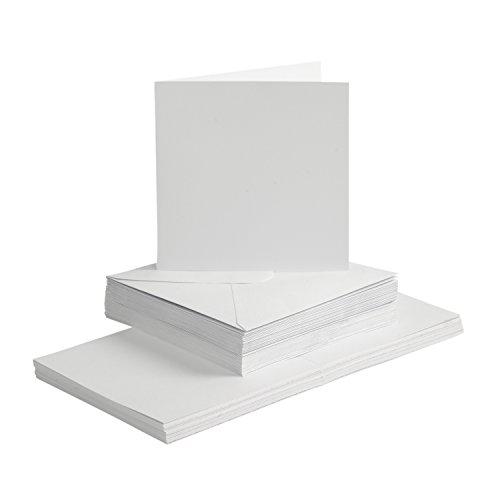 Karten und Briefumschläge Set, 15 x 15 cm, weiß, 100-tlg.
