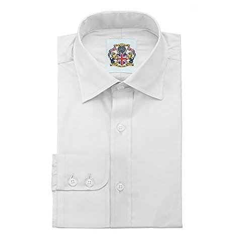 Janeo Mens Shirts - Chemise business - Uni - Manches Longues - Homme - blanc - 53 cm unique