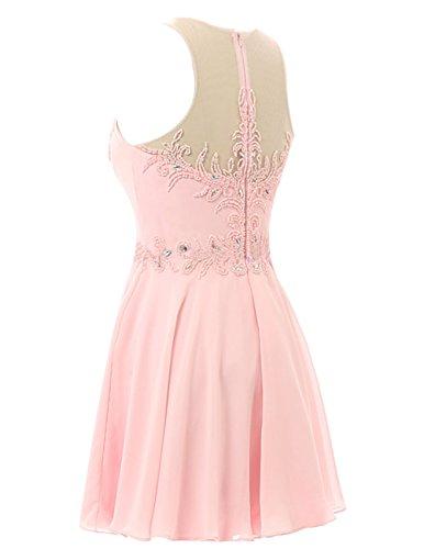 Dresstells Kurz Chiffon Brautjungfernkleider Homecomingkleider mit Perlstickerei Rosa