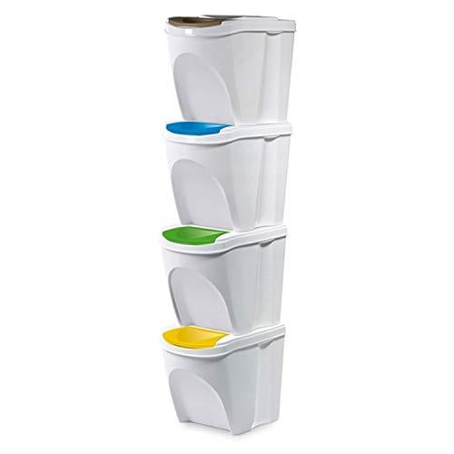 Sortibox Lealight Caja Juego de 4 Cubo de basura Cubo de basura de cocina 80 L 4 x 20L Papelera Contenedor...