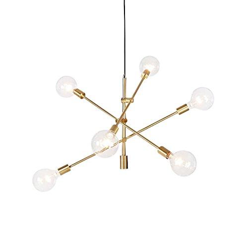 JU FU-Leuchte Pendelleuchte Poliert Gold Matt Schwarz Zeitgenössische Stem Hung Kronleuchter Leuchte Moderne Lampe 6 Lichter Hängen Unterputz @ (Farbe : Gold)