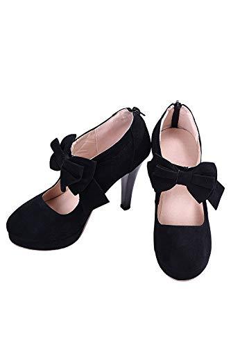 Damen Pumps Mary Janes Flandell High Heels Vintage Stil für Ball Hochzeit Schwarz EU 38