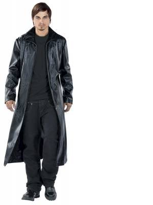 Manteau Tribal Manteau imitation cuir noir Noir