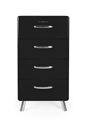 Tenzo 4904-024 COBRA Designer Chiffonnier avec 4 Tiroirs Panneaux de particules/MDF Noir 50 x 43 x 92 cm