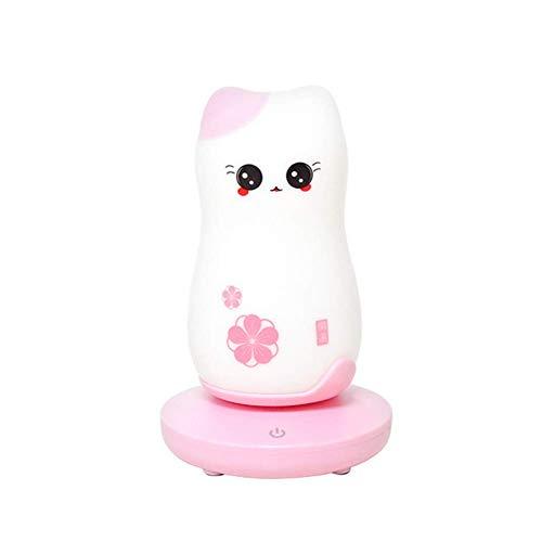 LED Nachtlicht Nette Glückliche Katze Cartoon Tragbare Silikon Schlafzimmer Touch Sensor Dimmer Nacht Lampe Für Kinder Schlafzimmer Dekor,Pink