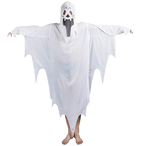 ZahuihuiM Männer Frauen Happy Halloween Kostüm Zauberer Hexe Mantel Cape Robe Kleidung Lustig Vampir Horror Zombie Hexe Teufel Skelett Outfit Halloween kostüm Für Festliche (Freie Größe, Weiß)
