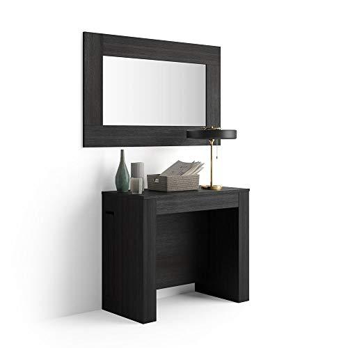 Mobili fiver, tavolo consolle allungabile con porta prolunghe, easy, nero frassino, 90 x 45 x 76 cm, nobilitato/alluminio, made in italy, disponibile in vari colori