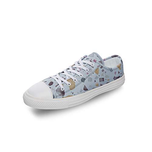 RNGIAN Damen Textur Canvas Schuhe Casual Canvas Classic Tennis Skate Schuhe für Mädchen, Weiß - weiß - Größe: 43 EU