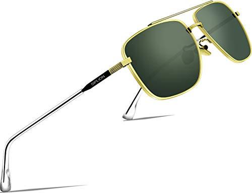 SIPLION Herren Polarisiert Sonnenbrille Pilotenbrille Fahrerbrille Verspiegelt UV400 (Grün 6055)