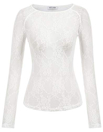 Damen Stylish Scoop Neck Mesh Sheer Langarm Bar Top Ivory Lace XX-Large - Sehen Durch Mesh