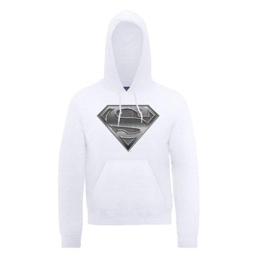 white Comics Uomo Dc0000456 L Dc Official Bianco Plate Logo Steel Superman Felpa 1rPvw8R1q