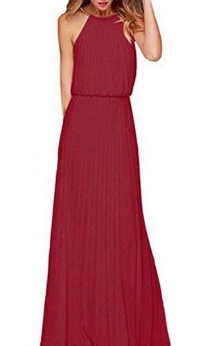 """Damen Sexy Ã""""rmellos Neckholder Kleider Summer Maxi Kleid Festkleider Partykleid Elegant Lange Strandkleid Abendkleid Brautjungfer Chiffon Faltenrock"""