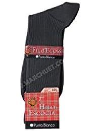Punto Blanco - Calcetines Hilo de Escocia con canalé 100% Algodón Fresco Hombre ...