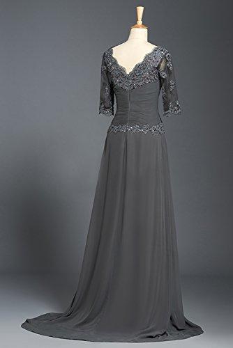 BRLMALL Damen Schaufel-Ausschnitt Halbarm SpitzeAppliques Chiffon Mutter der Braut Kleid Grau