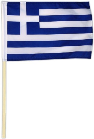 Fahne Flagge Griechenland 30 x 45 cm mit Stab