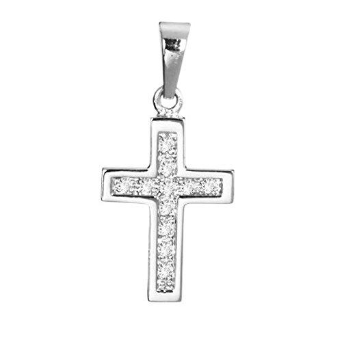 MATERIA Damen Kreuz Anhänger 925 Sterlingsilber Zirkonia weiß Religion #KA-31