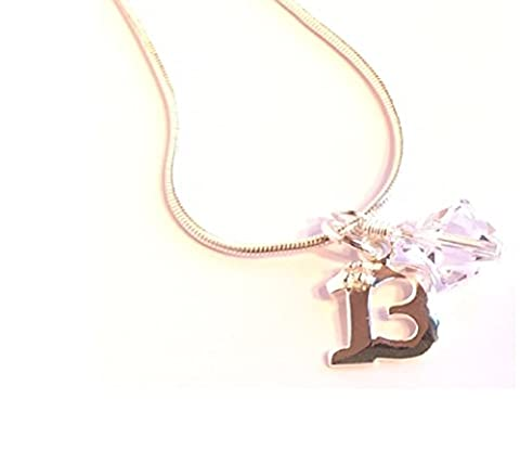 Happy 13th Birthday Sterling Silver Pendant with Cubic Zirconia inset and Sparkling Swarovski Crystal