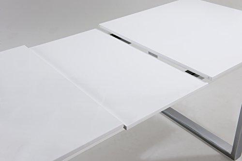 CAVADORE Tisch, Holz, Hochglanz weiß, 90 x 160 x 76 cm